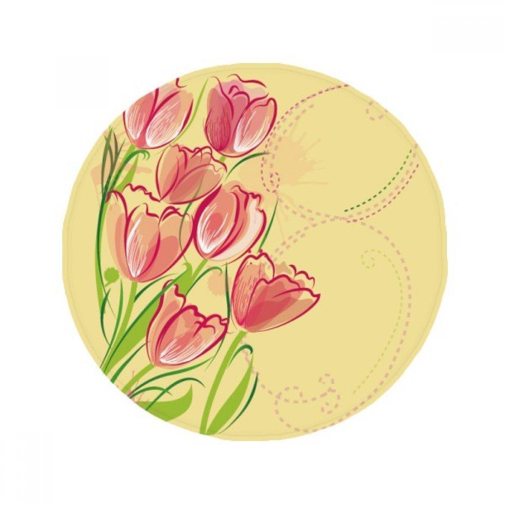 60X60cm DIYthinker Hand Painted Tulip Flower Plant Illustration Anti-Slip Floor Pet Mat Round Bathroom Living Room Kitchen Door 60 50Cm Gift