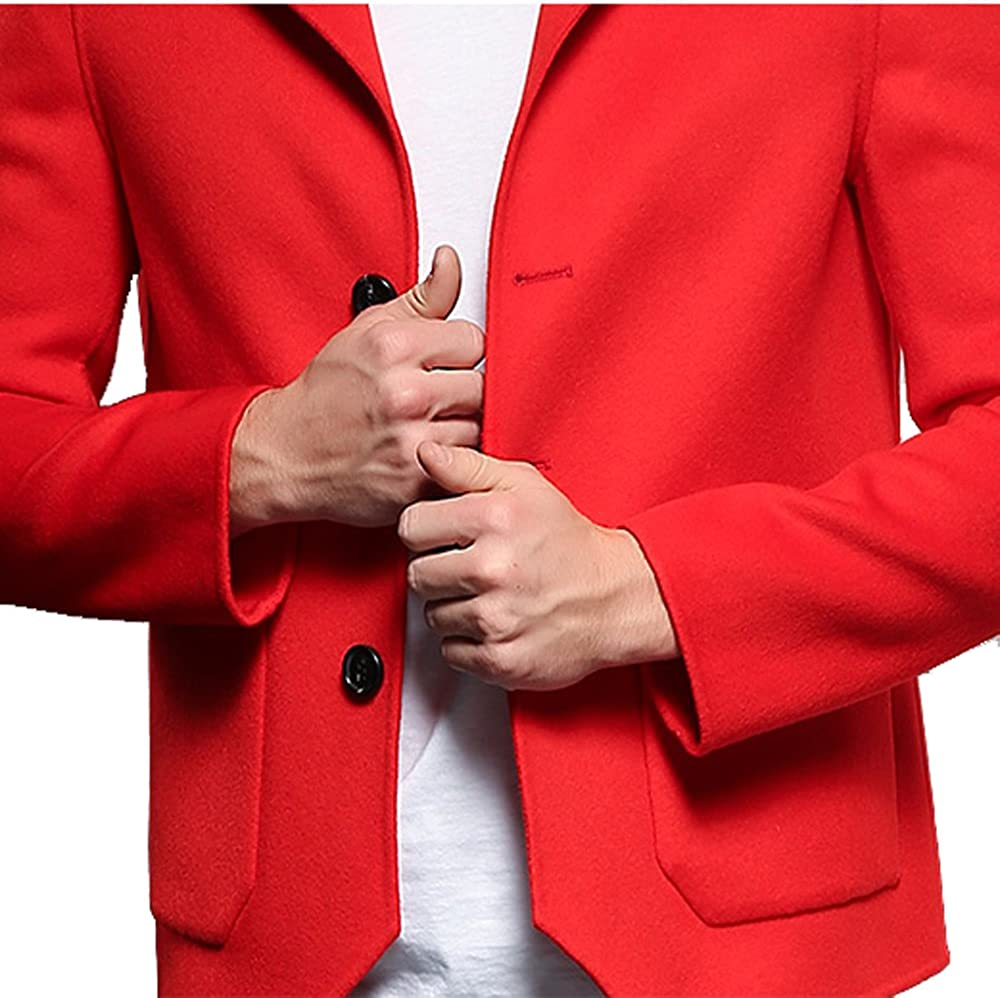 SANIWOMU Promote Men Real Wool Outerwear Red Fashion Coat