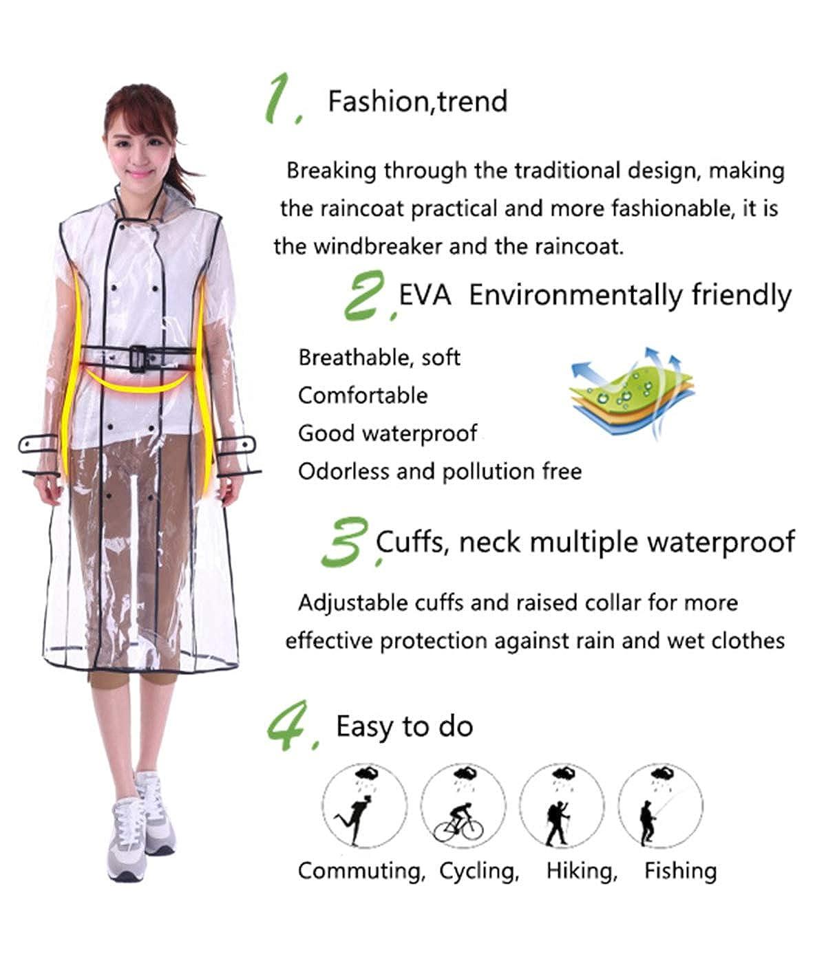 Dream3 Donna Impermeabile Outdoor Trasparente Cappotto di Pioggia Giacche Impermeabili Campeggio Sportivo Ciclismo Abbigliamento Raincoat Cappuccio Lungo
