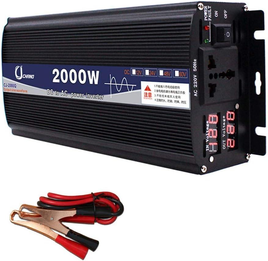 XBNBQ Inversor de Onda sinusoidal Pura de 3000W DC 12V / 24V a AC 220V Inversor de Corriente Inversores de Corriente Continua de Alta eficiencia para teléfonos Inteligentes Tableta24V-2000W