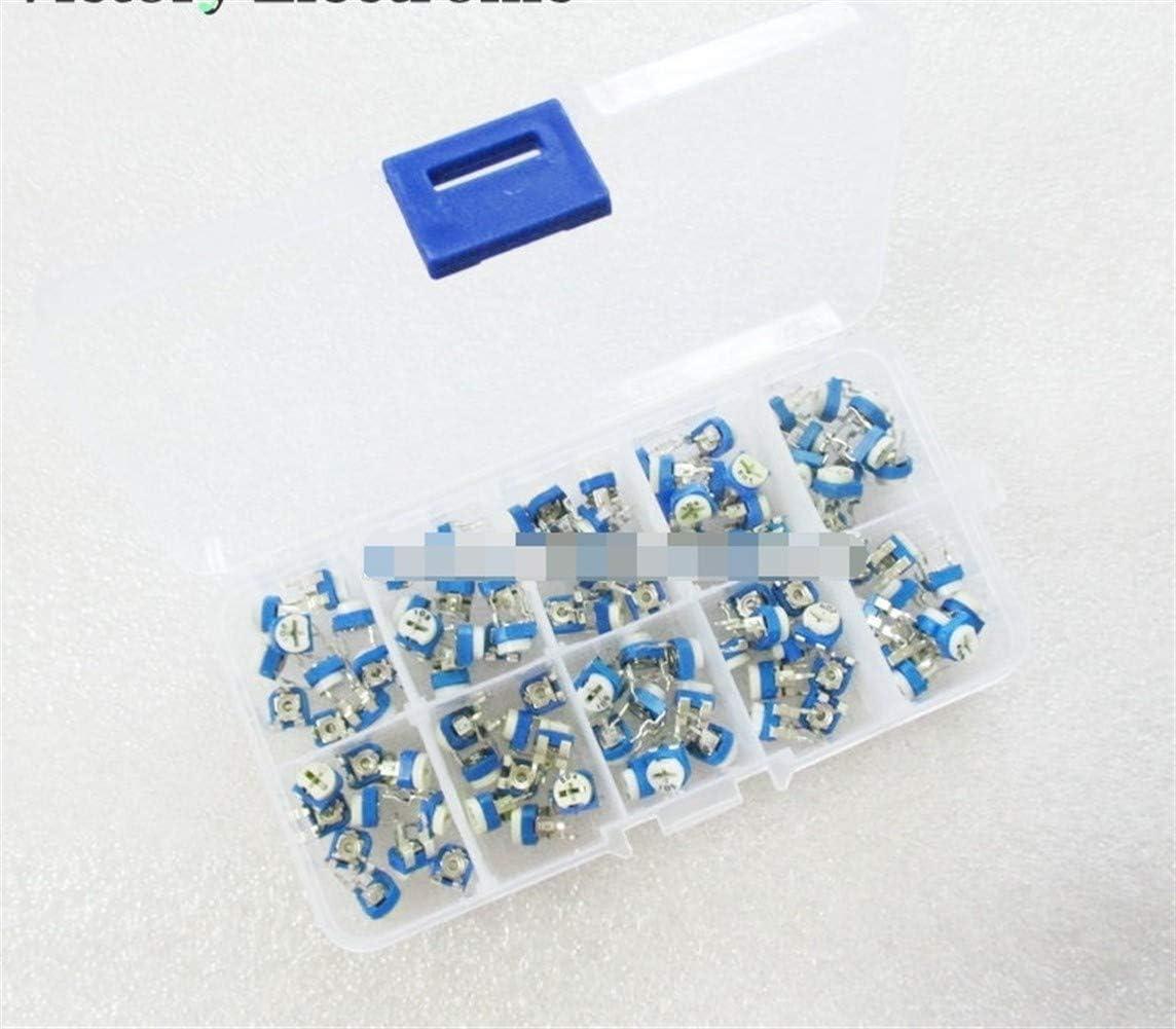 100 개 | 상자 RM065 탄소 필름 수평 전위차계 구색 키트 10 값 가변 저항 500R-1M