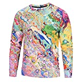 kaifongfu Men Shirt,Color 6D Print Men Long Sleeve Pullover Top Sweatshirt Blouse(Multicolor,S)