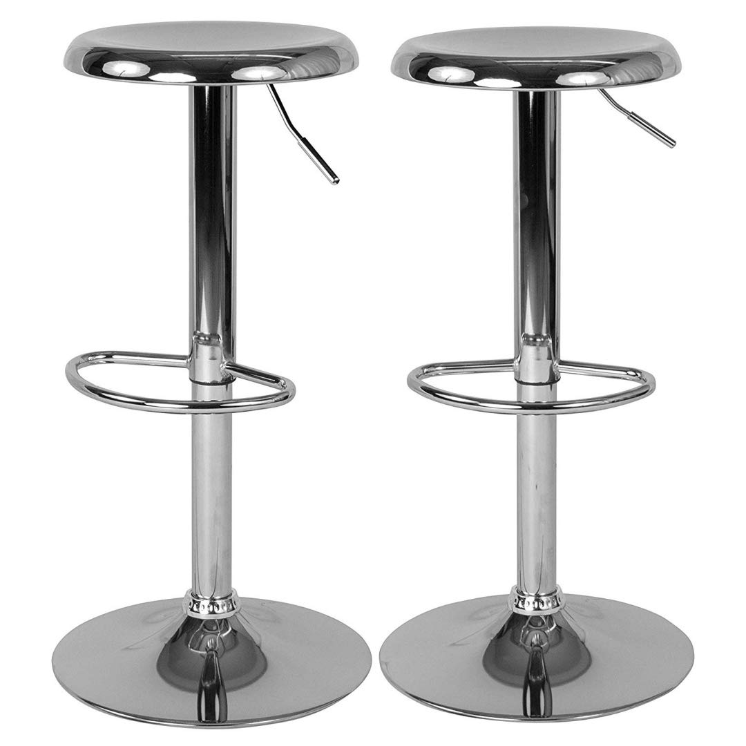 Contemporary Classic Design Metal Dining Round Backless Bar Stools Adjustable Height Swivel Seat Lounge Restaurant Diner Commercial Home Office Furniture - Set of 2 Chrome #2205