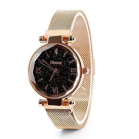 Bustling Starry Sky Watch Reloj de Cuarzo Imán Correa Hebilla Reloj de Acero Inoxidable para niñas