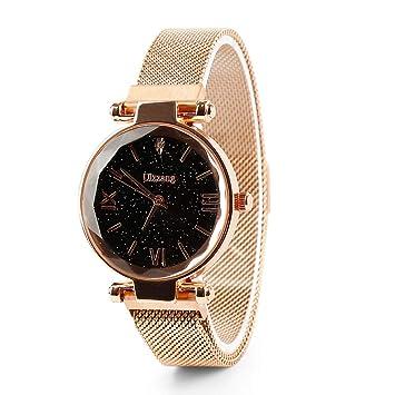 Bustling Starry Sky Watch Reloj de Cuarzo Imán Correa Hebilla Reloj de Acero Inoxidable para niñas, Mujeres (Rose Gold)