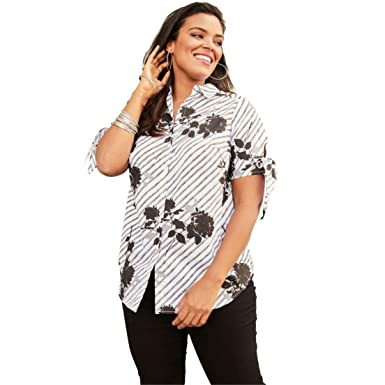0111b9a263 Roamans Women s Plus Size Short-Sleeve Kate Shirt with Tie-Sleeves at  Amazon Women s Clothing store