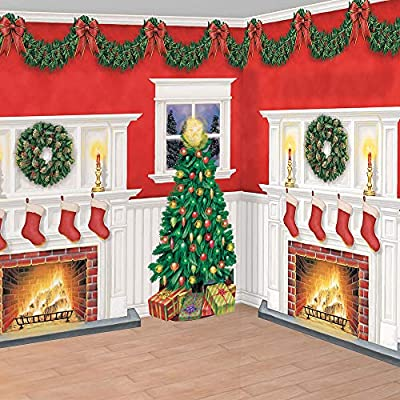 Amscan International Kit décoration Murale , Maison à Noël , Salle  Douillette , Sapin, cheminée, guirlandes festives