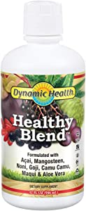 Dynamic Health Healthy Blend | for Healthy Living | Acai, Magosteen, Noni, Goji, Camu Camu, Maqui & Aloe Vera | No Gluten or BPA, Vegetarian | 32 oz