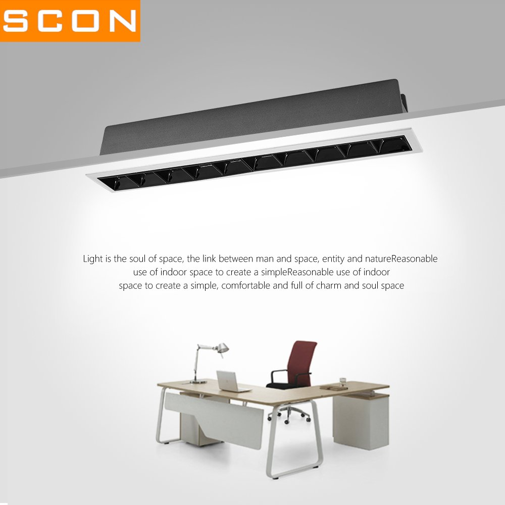 SCON 15W LED Grille Downlight Fixture , CRI85+,COB OSRAM, Recessed Ceiling Light ,Warm White (3000K),1200lm for Living Room,Hotel,Dining Room,Bedroom,Office,Exhibition by SCON (Image #8)