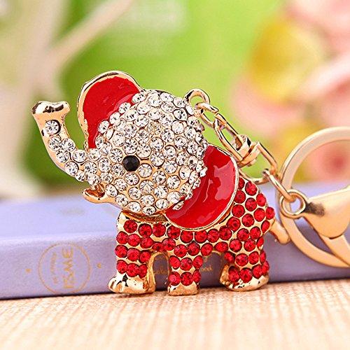 Cute Big Ears Elephant Keychain Sparkling Keyring Crystal Purse Pendant Rhinestones Handbag Charm - Red Elephant