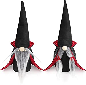 D-FantiX Halloween Gnomes Plush Decor, 2 Pack Handmade Tomte Swedish Gnome Nisse Scandinavian Gnomes Ornaments with Black Witch Cloak Hat Halloween Table Decorations Gifts