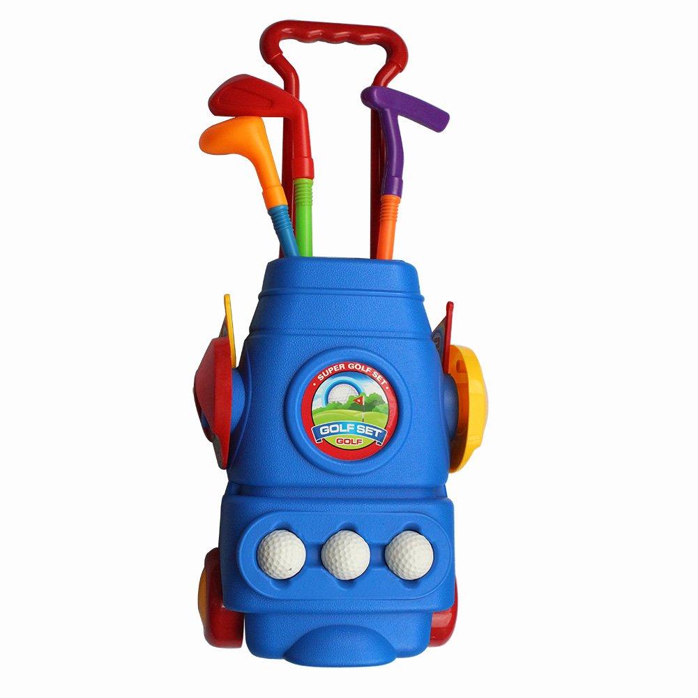 CRESTGOLF New Official Deluxe Golf Caddy Set Children Plastic Golf Clubs Caddy Bag Set Toys