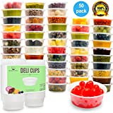 Plastic Food Storage Containers with lids - Restaurant Deli Cups / Foodsavers for Party Supplies, Baby & Portion Control - Kids Lunch Boxes - Watertight / Leakproof Takeout Kitchen Set (8.5oz, 50pcs)