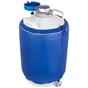 BestEquip 20L Liquid Nitrogen Tank Aluminum Alloy Liquid Nitrogen Dewar Static Cryogenic Container Liquid Nitrogen Container with 6 Canisters and Carry Bag