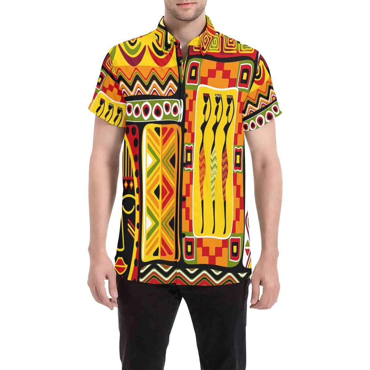 InterestPrint Mens Botton Up Shirt Stylized Acrylic Painting T Shirts for Regular Fit S-5XL