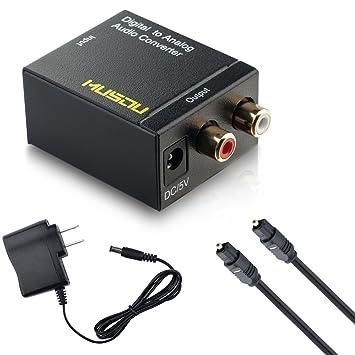 Musou coaxial óptico digital a analógico RCA conversor de audio adaptador con cable de cable
