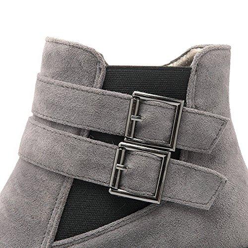 geschlossene imitiert Damen Absatzschuhe Zehen Grau Stiefeletten Allhqfashion Wildleder runde in Reißverschluss qOCUw6ntn1