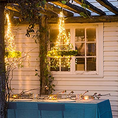 Blinngo Solar Powered String Lights, 100 LED 33ft Starry String Lights, Copper Wire Lights Ambiance Lighting for Outdoor, Gardens, Homes, Dancing, Christmas Party (Warm White)
