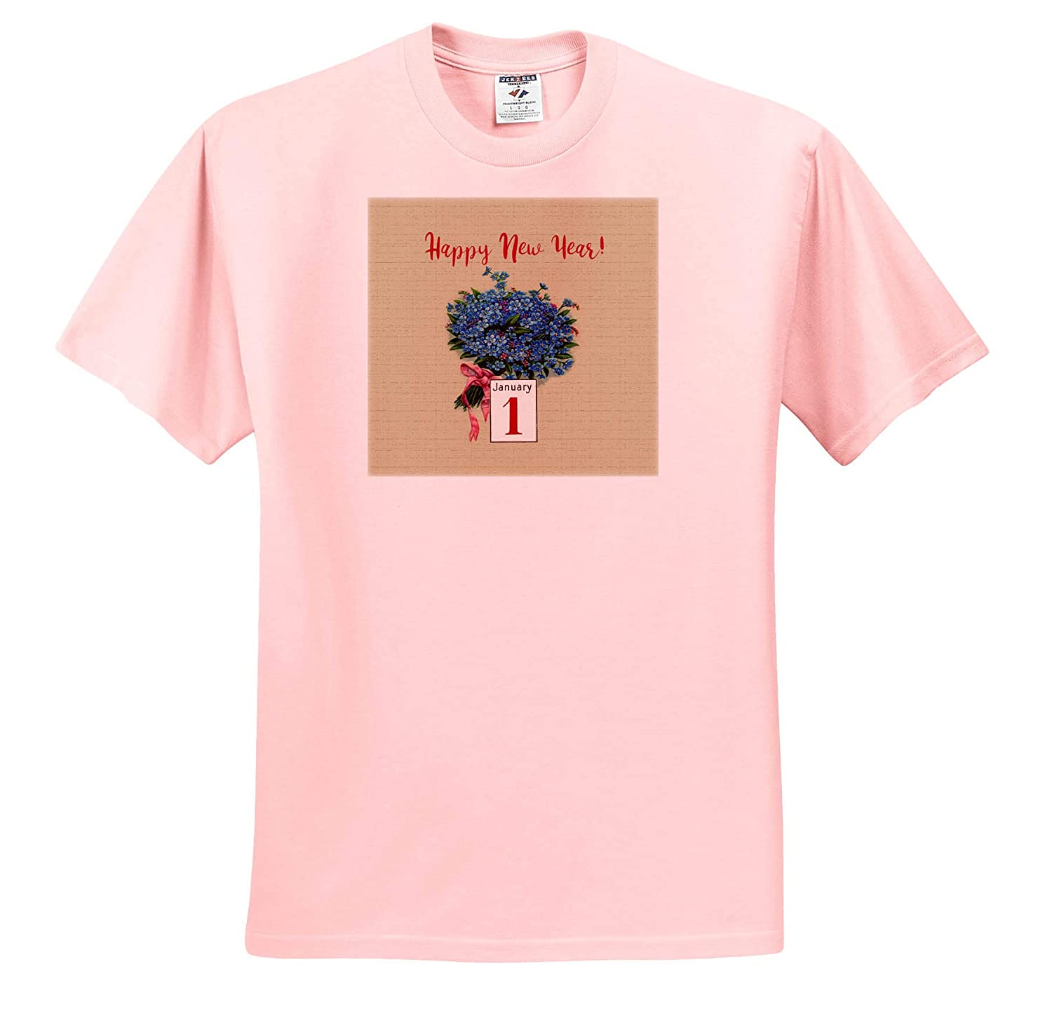 Bouquet of Blue Flowers Happy New Year January 1 3dRose Beverly Turner New Year Design T-Shirts Pink Bow