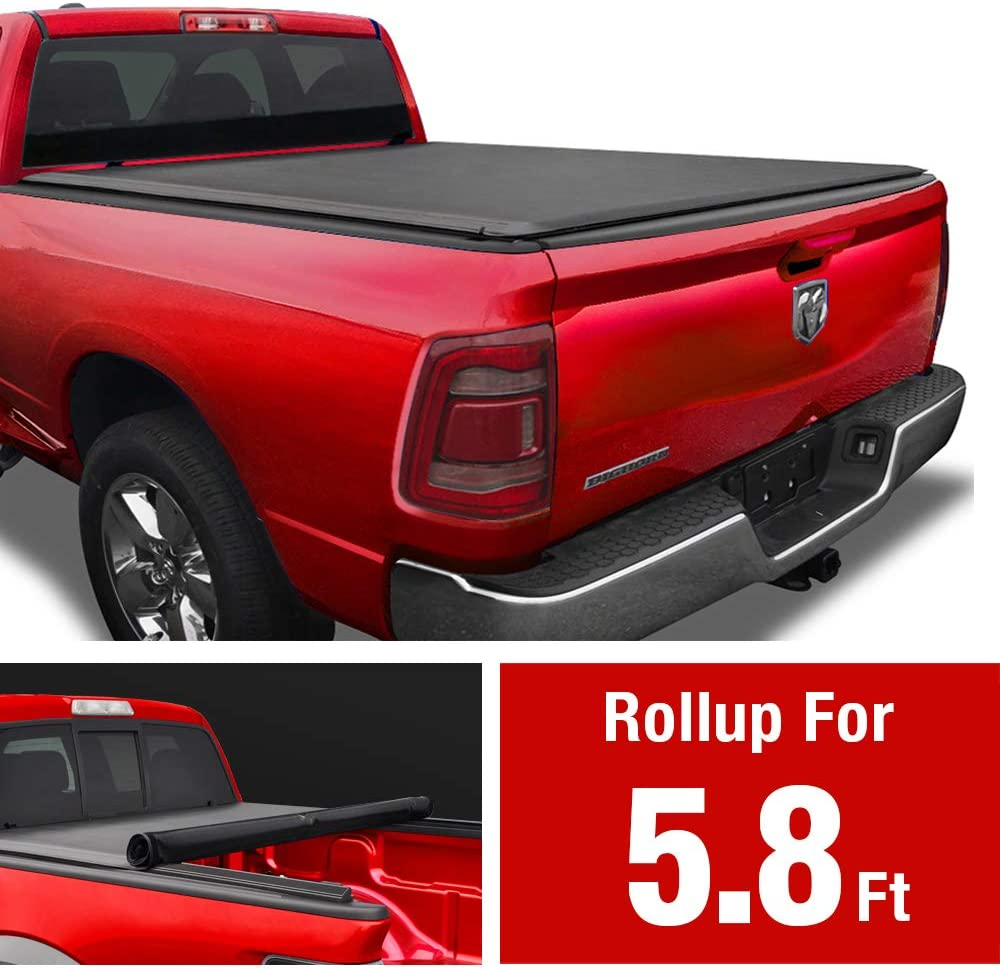 MaxMate Soft Roll Up Truck Bed Tonneau Cover Compatible with 2009-2018 Dodge Ram 1500 | 2019-2020 Classic Only | Fleetside 5.7' Bed | Without RamBox