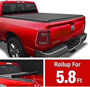 "MaxMate Soft Roll Up Truck Bed Tonneau Cover Compatible with 2009-2018 Dodge Ram 1500 | 2019-2021 Classic Only | Fleetside 5'7"" Bed 