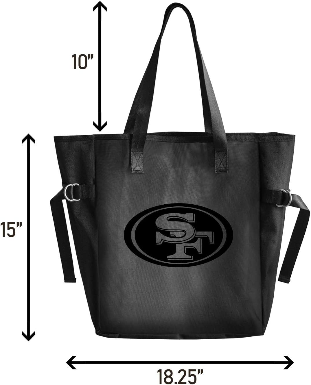 Littlearth Productions Officially Licensed Black Mesh Reusable Fabric Tailgate Tote Bag with Black Vinyl Team Logo