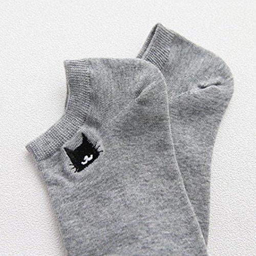 Sagton® Chaussettes En Coton Pour Femme Creative Drôles De Broderie Chat Cheville Crew Chaussettes Chaussettes Athlétiques Gris