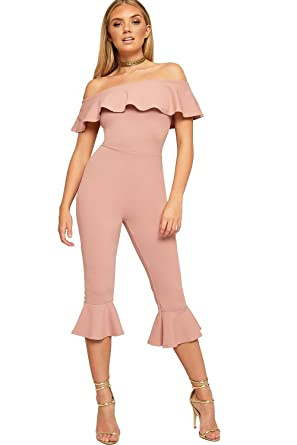 60cd925ef987 WearAll Women s Bardot Off Shoulder Frill Hem Ankle Trousers Ladies Crepe  Jumpsuit 8-14  Amazon.co.uk  Clothing