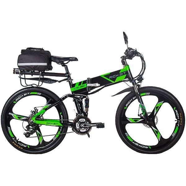 RICH BIT Bicicleta Eléctrica 250W Bicicleta Plegable de Montaña LG Li Batería 36V * 12.8 Ah Smart eBike 26 Pulgadas MTB RT-860 para Hombres/Adultos (Green-2.0): Amazon.es: Deportes y aire libre