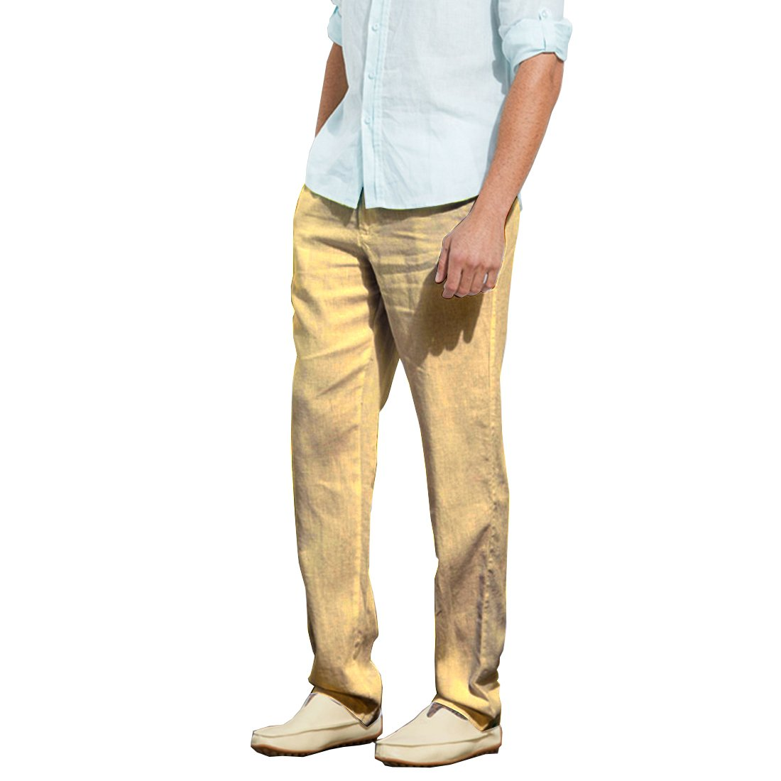 5550360c4c15 Manwan walk Men s Casual Beach Trousers Elastic Loose Fit Lightweight Linen  Summer Pants K70 (Medium