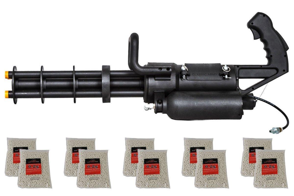 Classic Army M132 Microgun HPA/Gas Airsoft Gun w/ BB 10 Bag Combo Pack