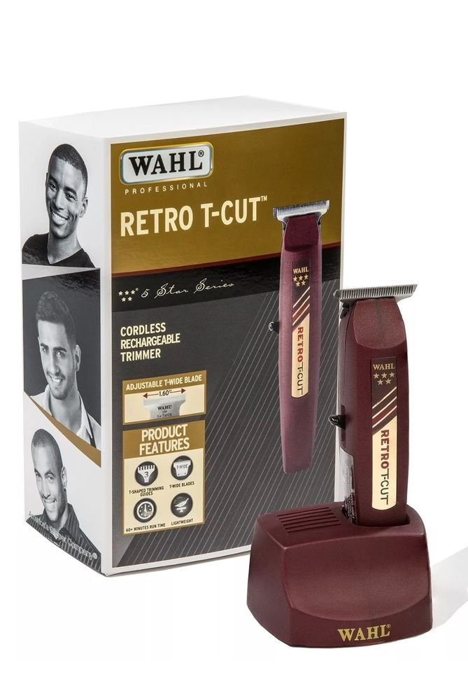 WAHL RETRO T-CUT ADJUSTABLE T-WIDE BLADE CORDLESS RECHARGEABLE TRIMMER MODEL 56417