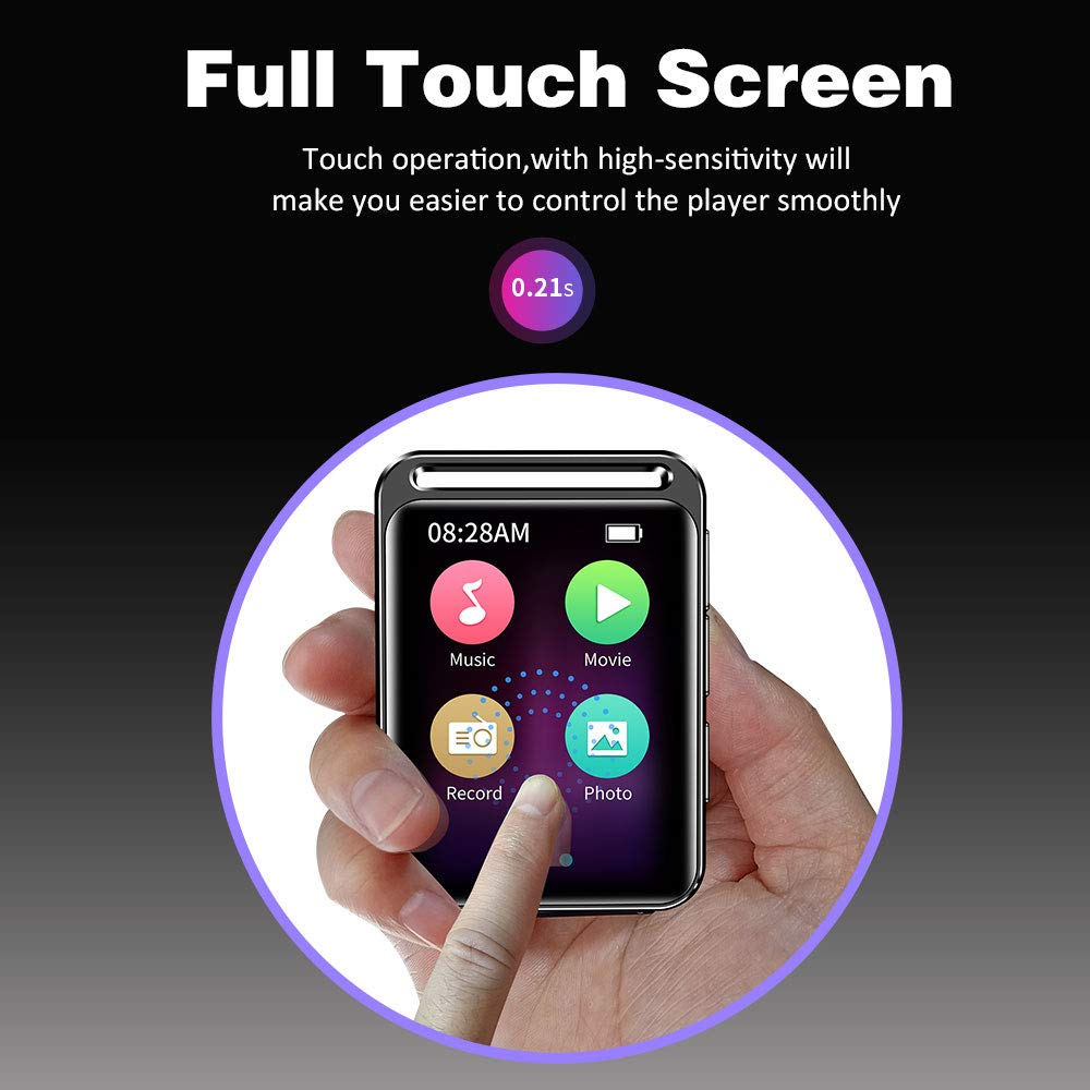 16GB MP3 Player with Bluetooth 4.1, HiFi Lossless Sound Music MP3 Player with FM Radio, Voice Recorder, E-Book, Supports up to 128GB, Earphone Included, Built-in Speaker, 1.8 inch Full Touch Screen