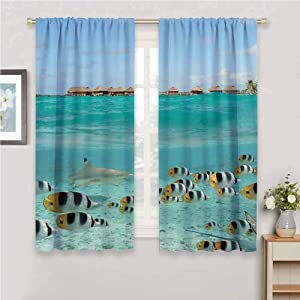 Ocean Decor Collection For bedroom blackout curtains Blacktip Reef Shark Chasing Butterfly Fish in Shallow Clear Water Lagoon of Bora Bora an Island Picture Blackout curtains for the living room W42