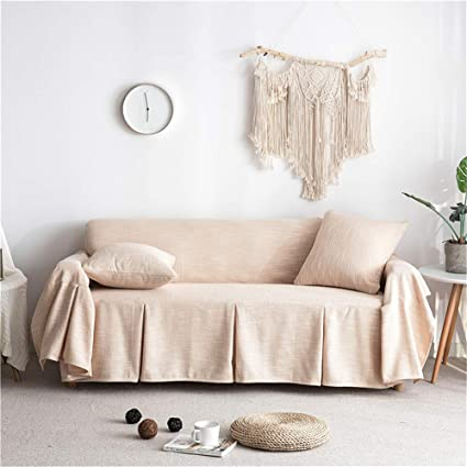 Awe Inspiring Couturebirdal Linen Couch Cover 1 Piece Soft Sofa Slipcover Ruffled Solid Couch Cover For Living Room Almond 78X102 Gmtry Best Dining Table And Chair Ideas Images Gmtryco