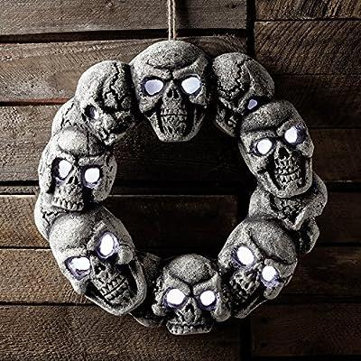 White LED Battery Operated Halloween Light Up Skull Door Wreath
