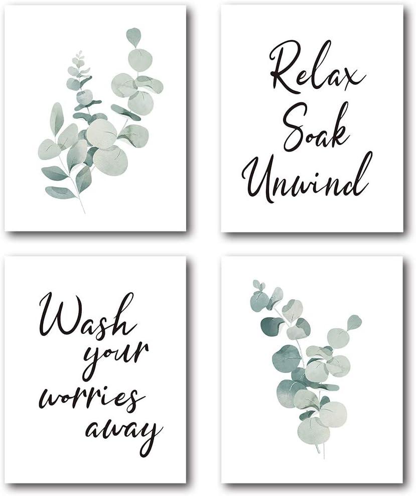 XUWELL Bathroom Quotes Relax Soak Unwind Watercolor Green Eucalyptus Leaves Plant Wall Art Prints, Modern Botanical Wall Art Prints Decor for Home Bathroom, 8 x 10 Inch Set of 4 Prints, Unframed