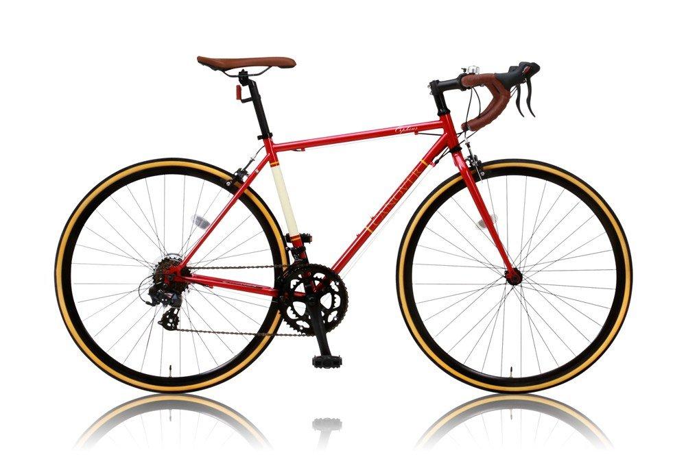 CANOVER(カノーバー) ロードバイク 700C クロモリフレーム シマノ14段変速 CAR-013 (ORPHEUS) LEDライト 1年保証 B07DWMQM36レッド