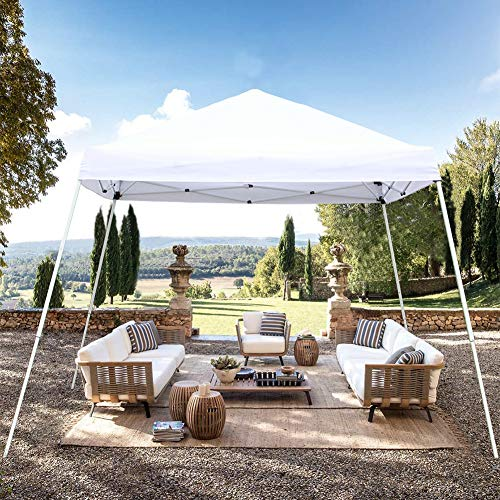 Blissun 10' x 10' Outdoor Pop-Up Slant Leg Canopy, Folding Tent Portable Pergola for Commercial Wedding Party BBQ Event, Sunshade Waterproof Heavy Duty (White) (Best Tent Camping In Estes Park)