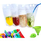 Deluxe 50-Pcs Disposable Drink Container Set By FroZip – Drink Pouches W/ Gusset Bottom & Reclosable Zipper For Cold & Hot Dr