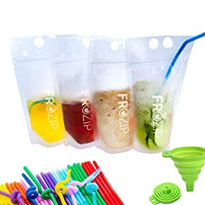 Deluxe 50-Pcs Disposable Drink Container Set By FroZip – Drink Pouches W/ Gusset Bottom & Reclosable Zipper For Cold & Hot Drinks – Non-Toxic, BPA & Phthalate Free – 50 Straws & Funnel Included