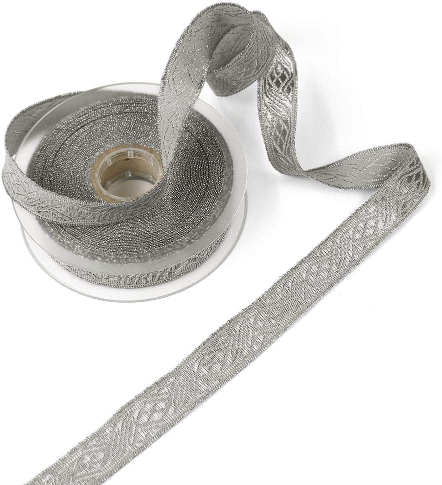 11 Yard Roll of Viktor 7//8 Silver Lurex and Cotton Jacquard Military Trim Made in Italy