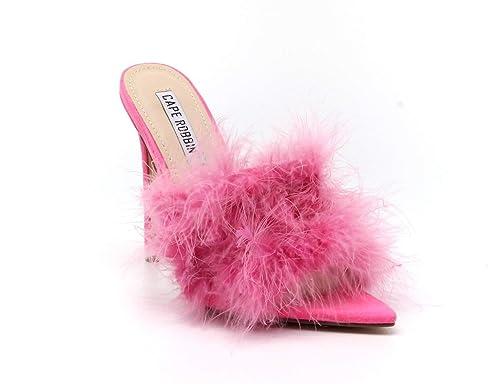 d135ea8e3b2 Amazon.com | CAPE ROBBIN Aves Women Faux Fur Open Pointy Toe ...