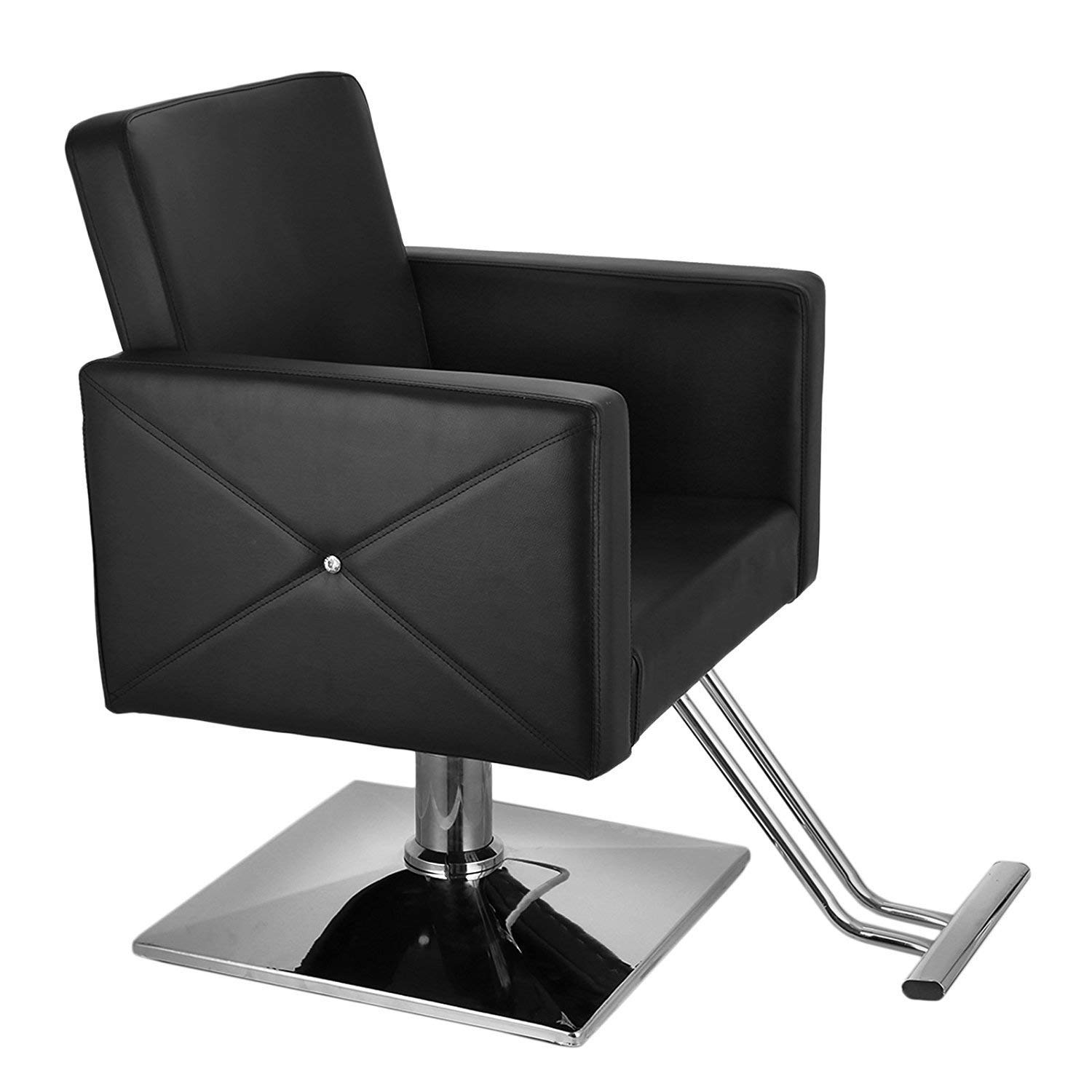 BuoQua Hydraulic Barber Chair PU Leather Barber Salon Chair Hydraulic Lift Square Base Hairdressing Styling Chair SPA Salon Beauty Equipment Barber Chair (Black)