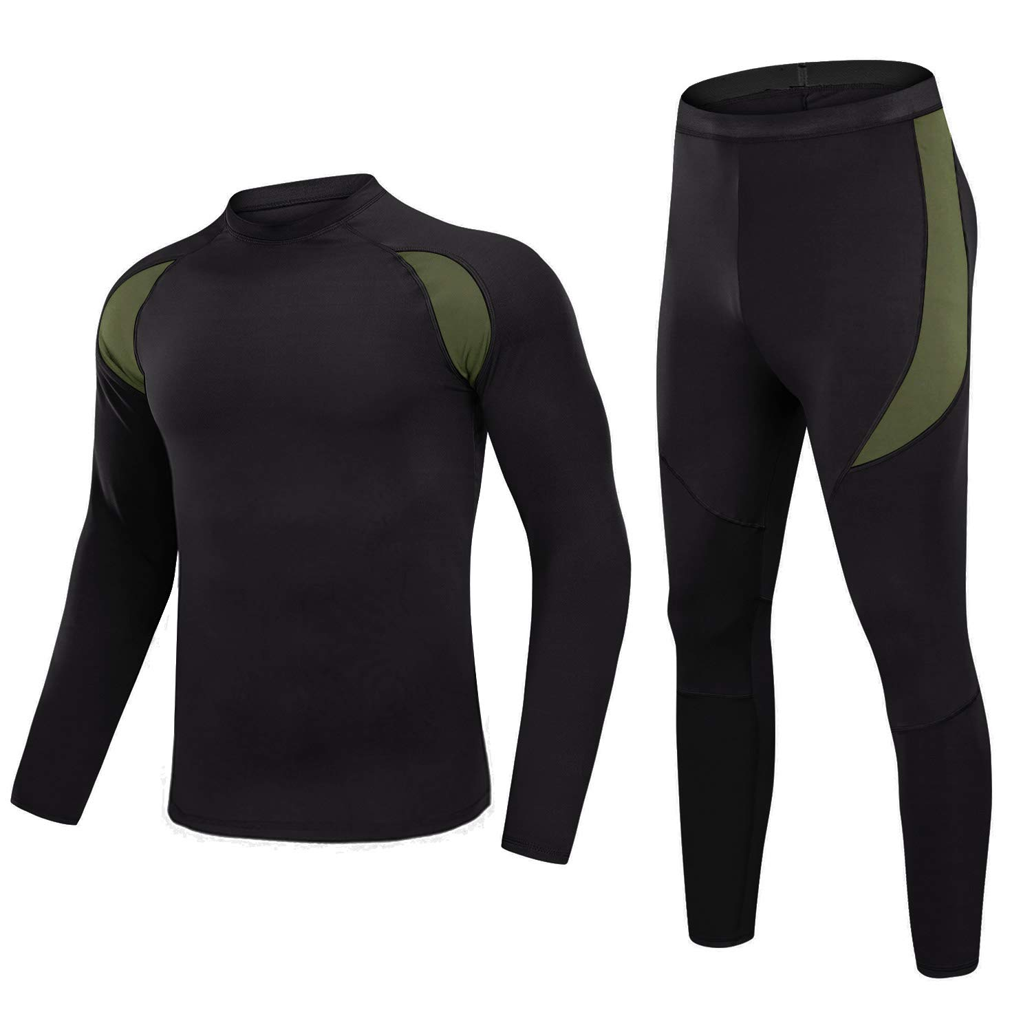 MAGNIVIT Men's Thermal Underwear for Men Base Layer Top & Bottom Set with Fleece Lined Black by MAGNIVIT
