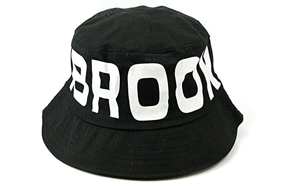 b13f089ce7701 Image Unavailable. Image not available for. Colour  New Brooklyn Letters  Characters Black and White Hip Hop Bucket Hat