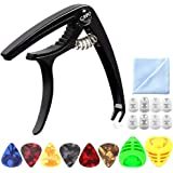 Guitar Capo, Professional Zinc Metal Capo for 6 String Acoustic Guitar, Electric Guitar, Ukulele,Bass,Banjo with Free 6pcs Guitar Picks 8pcs Guitar Finger Protectors,Best Gift for your musician friend