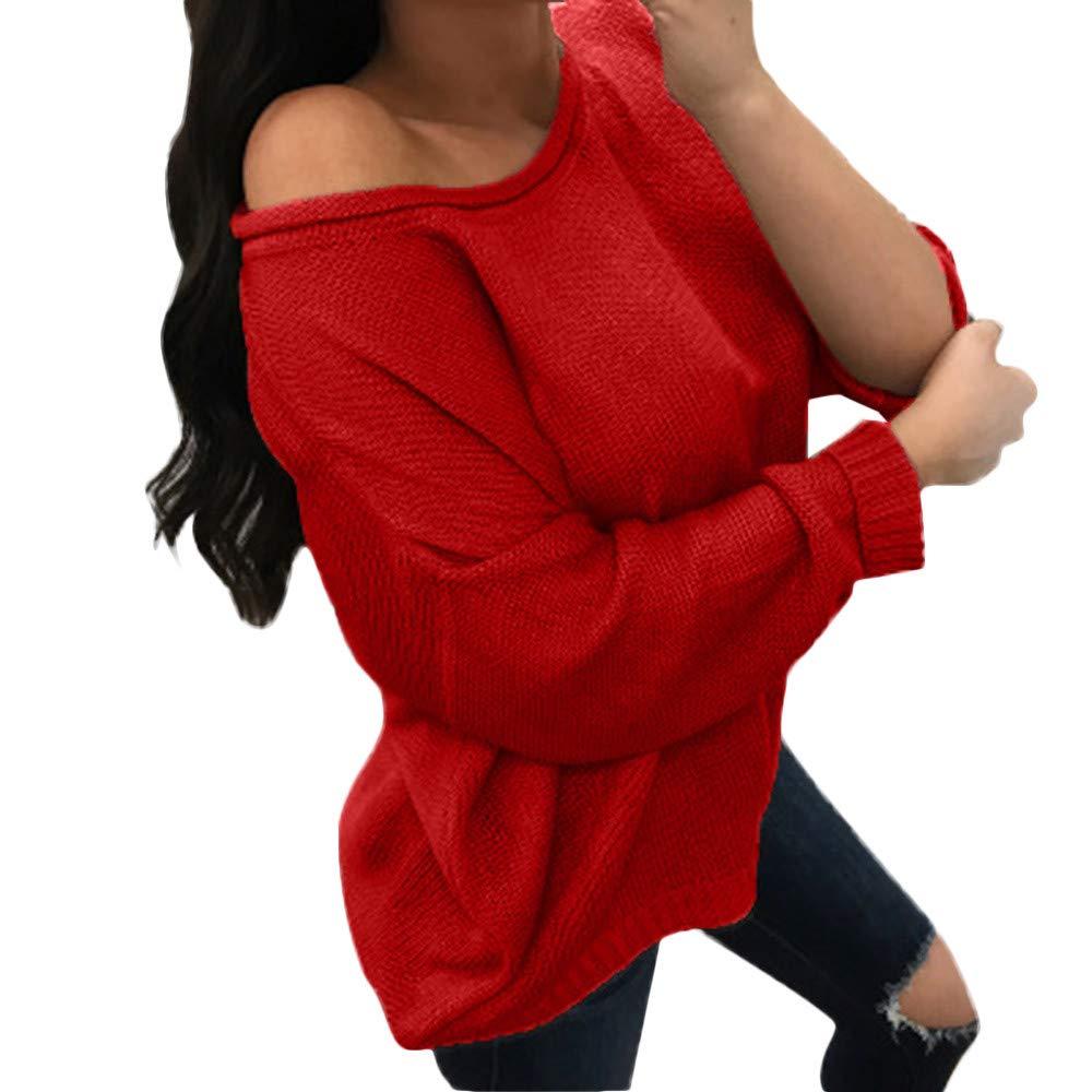 JYC-Suéter para Mujer, Mujeres de Manga Larga de Punto Jersey, Mujeres Otoño Largo Manga Inicio CasualTejido de Punto Jumper Pullover Camiseta Suéter: ...