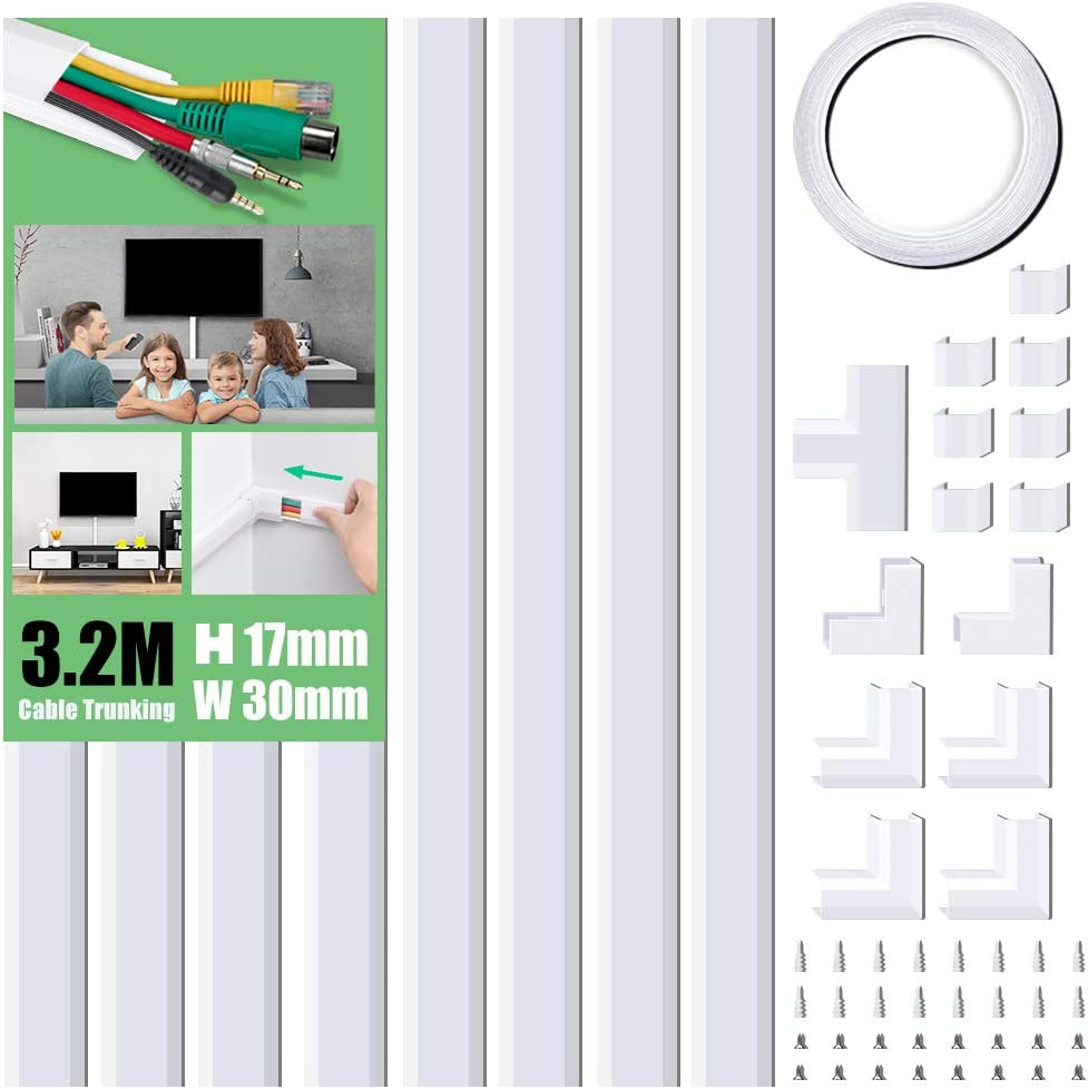 Cable Tidy Cable Raceway W30mm H17mm Cable Management Kit for Home Office Cable Trunking Kit Black 8X L400mm Cable Concealer