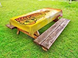 Ambesonne Psychedelic Outdoor Tablecloth, Meditation Under Magic Tree Sacred Hidden Harmony of Universe Relax Image, Decorative Washable Picnic Table Cloth, 58 X 104 inches, Orange Yellow